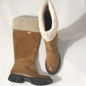 HUNTER Steamboat  Suede Leather Shearling Boots